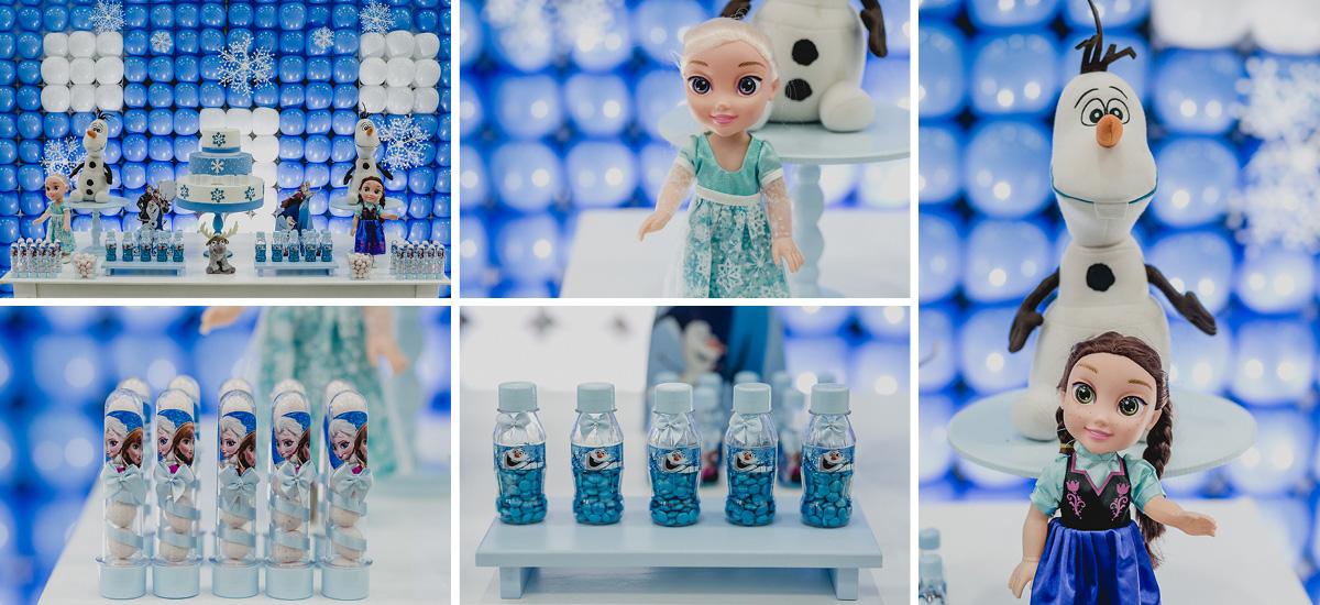 Detalhes da mesa do bolo com o tema Frozen Ana e Elsa