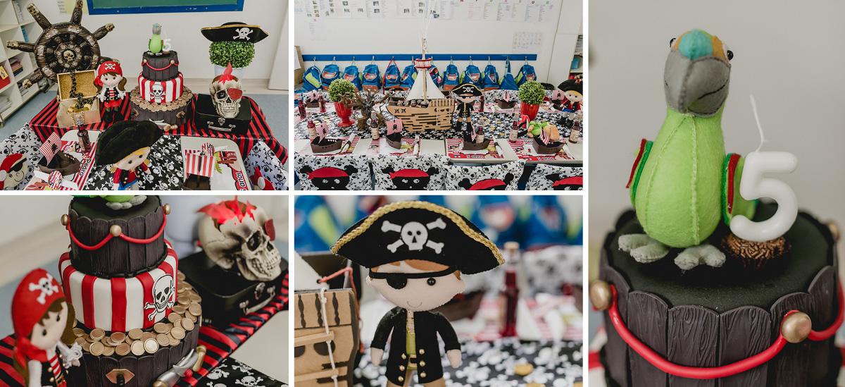 detalhes da mesa do bolo com o tema piratas