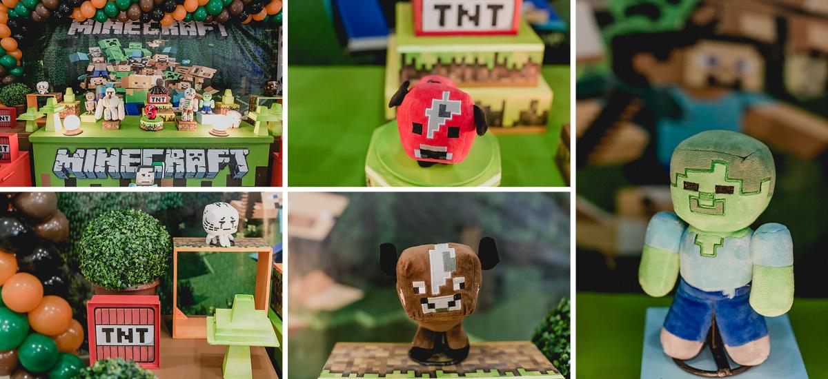 detalhes da mesa do bolo com o tema minecraft