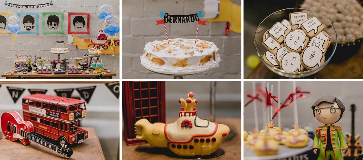 detalhes da mesa do bolo com o tema dos beatles