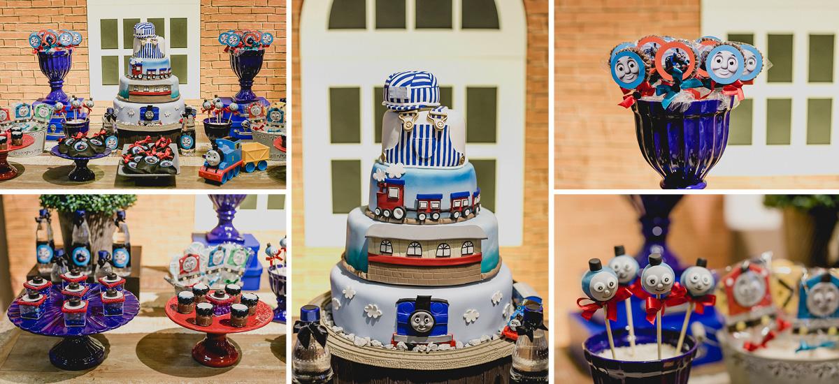 detalhes da mesa do bolo com o tema thomas e seus amigos