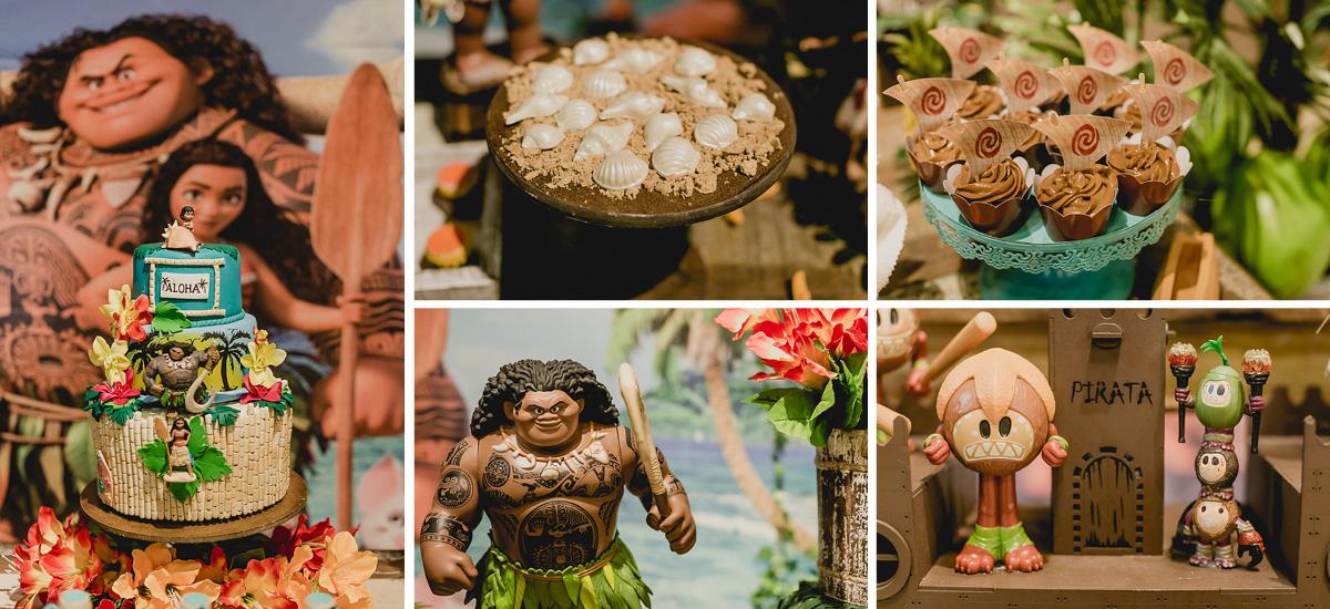 detalhes da mesa do bolo com o tema moana feita pela marcia colonese
