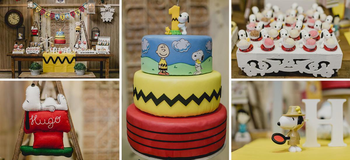 mesa do bolo com o tema charlie brown