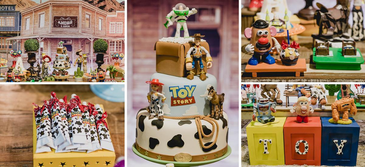 mesa do bolo com o tema toy story feita pela meire cespede