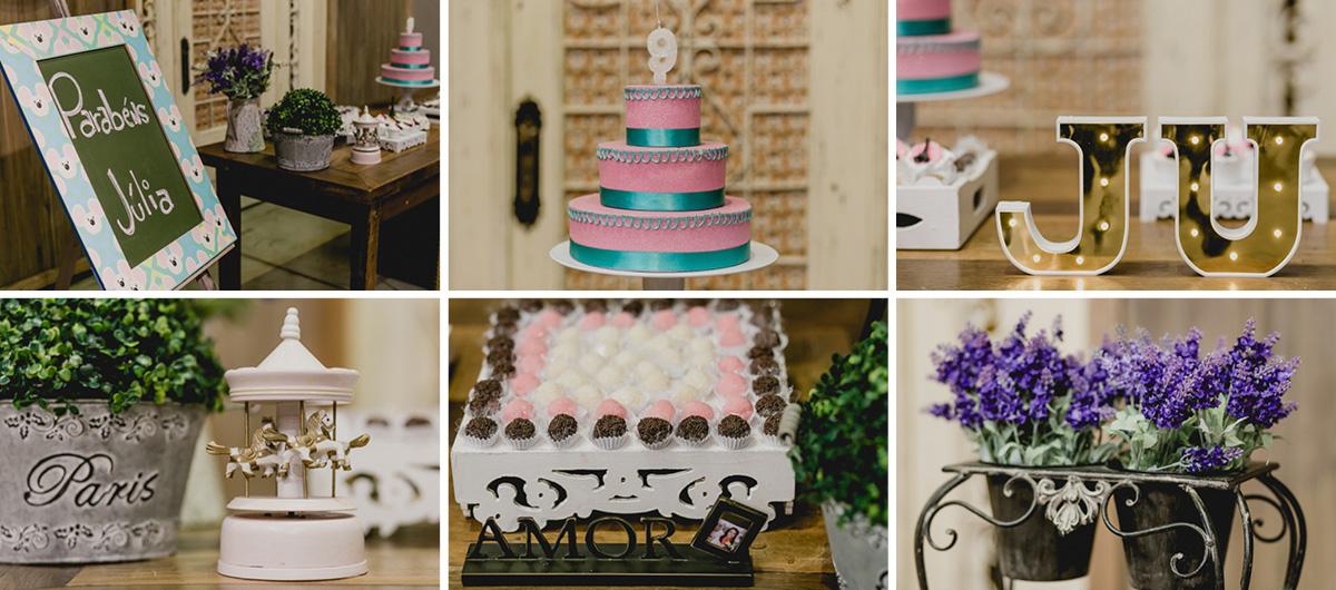 detalhes da mesa do bolo com o tema paris