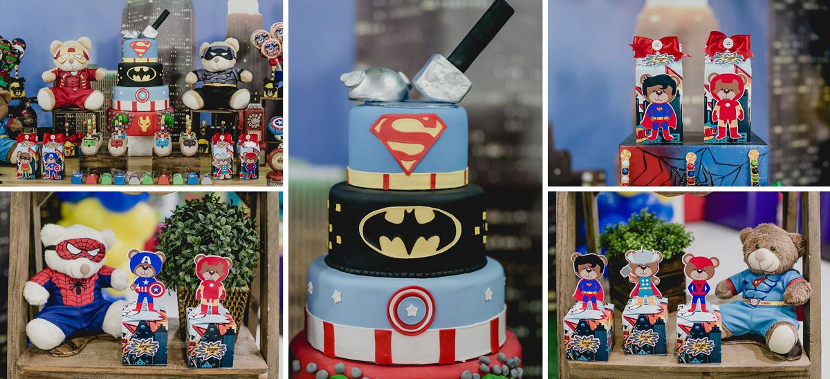 detalhes da mesa do bolo com o tema ursinho super herois
