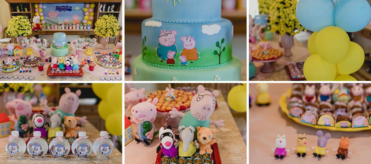 detalhes da mesa da festa de 3 anos com o tema peppa pig