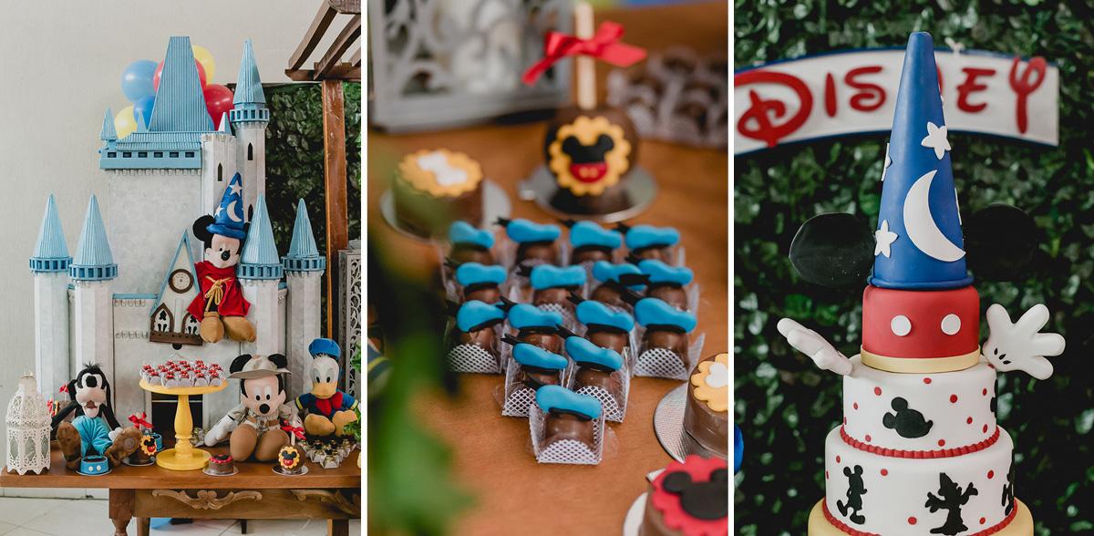 detalhes da mesa do bolo com o tema mickey e minnie