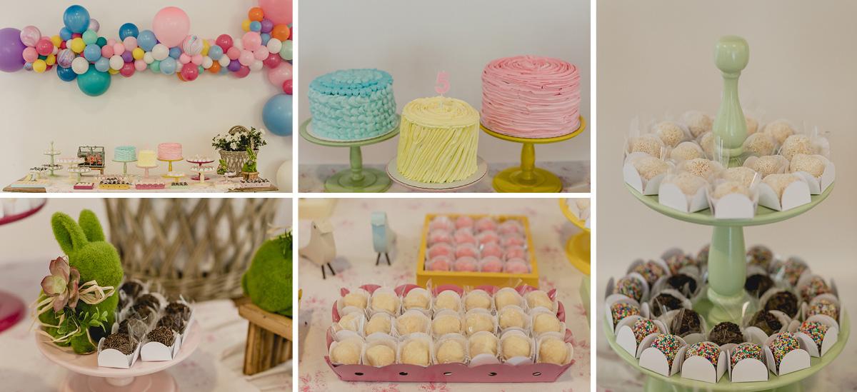 detalhes da mesa do bolo feita pela marcela fongaro na festa de 5 anos da luisa