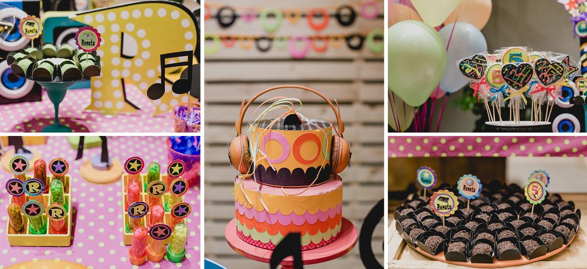 detalhes da mesa do bolo com o tema balada