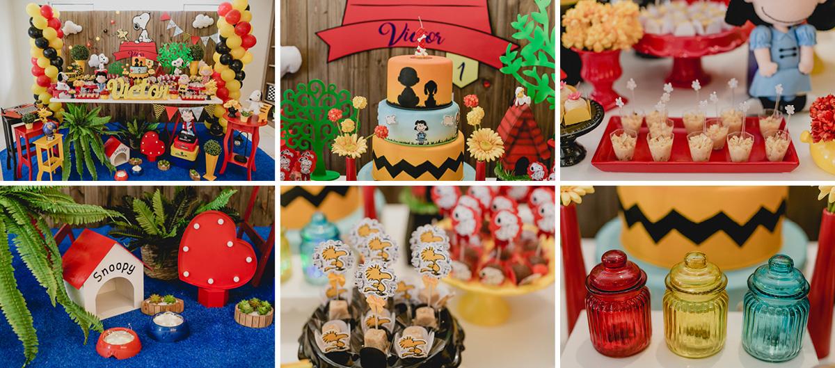 detalhes da mesa do bolo com o tema snoop