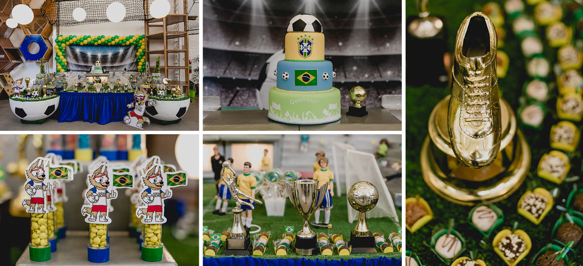 mesa do bolo com o tema brasil e copa do mundo