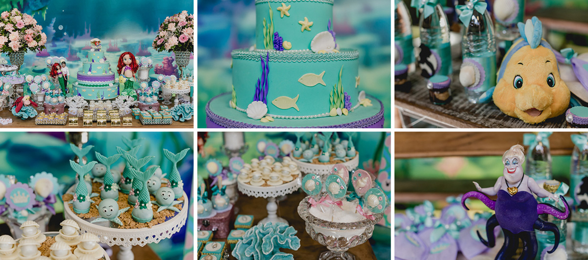 detalhes da mesa do bolo com o tema ariel feita pela marcia colonese decorações