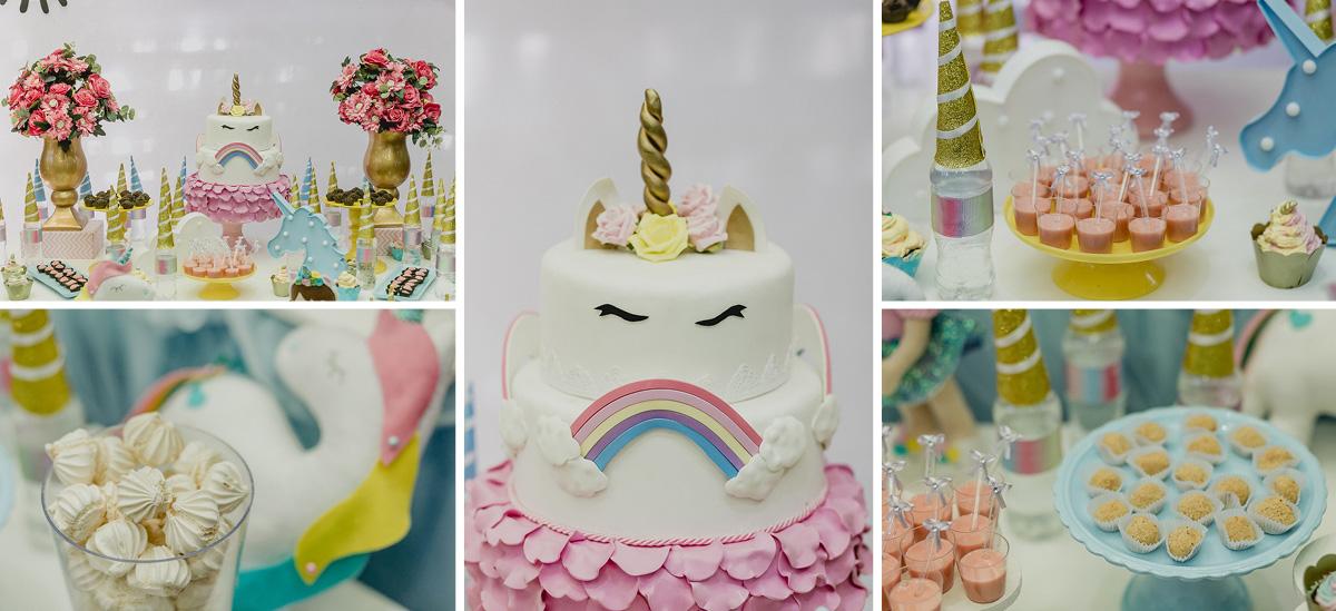detalhes da mesa do bolo com o tema unicornios