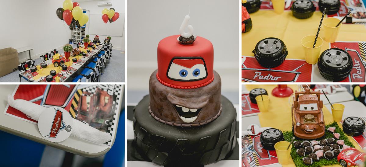 mesa do bolo com o tema carros