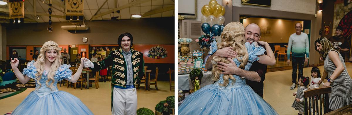 Princesa e Principe conhecendo a aniversariante no Buffet Miniland - Tatuapé - SP