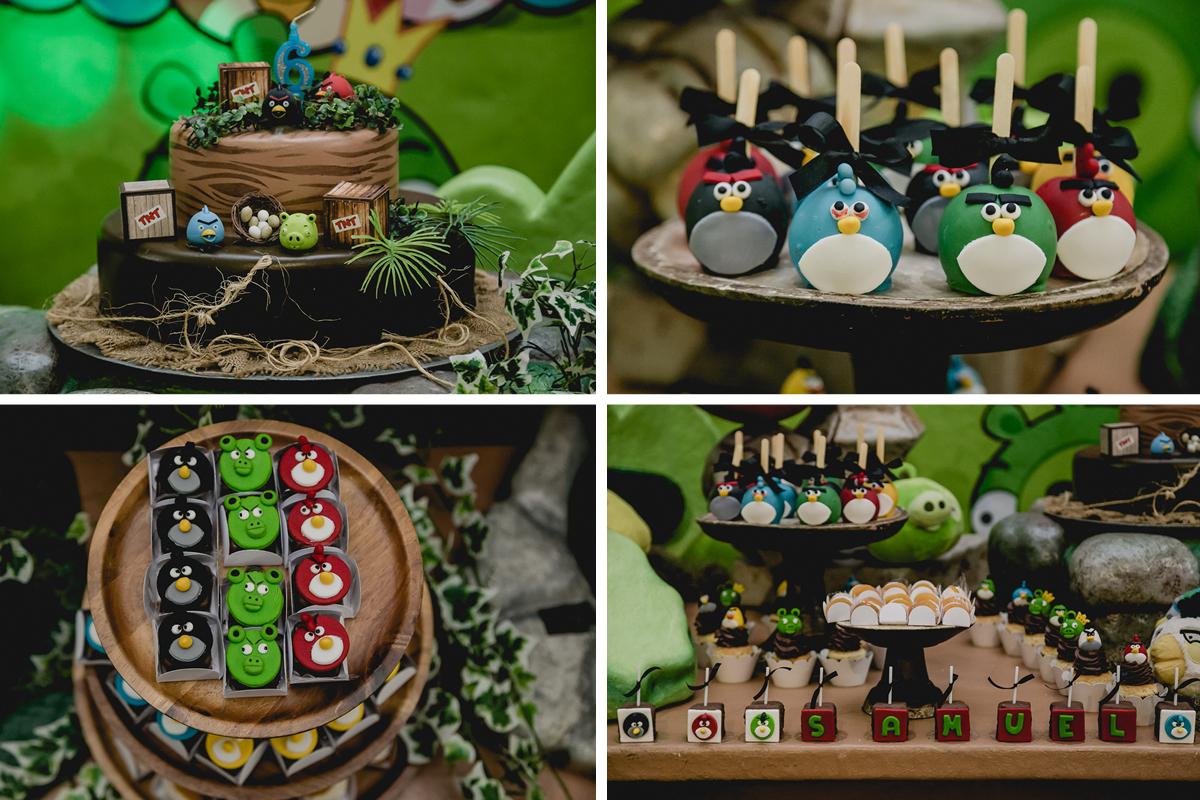 Detalhes da mesa do bolo Angry Birds na festa de 6 anos do Samuel no no Espaço Diversão e Arte - Zona Norte - SP