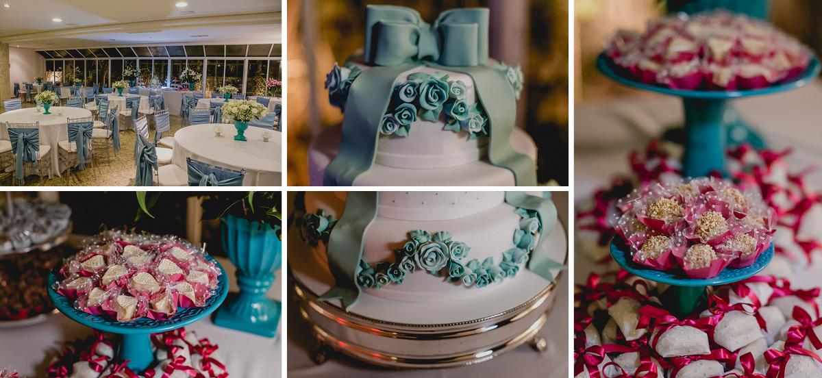 Detalhes da mesa do bolo na festa de 15 anos da Renata nos Jardins - SP