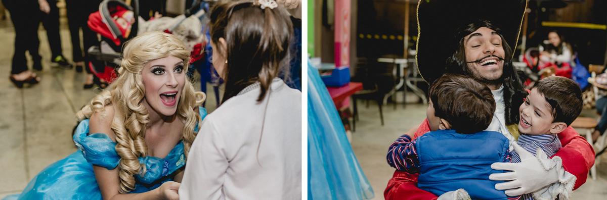 Princesa e pirata chegando na festa da Bruna e Andre