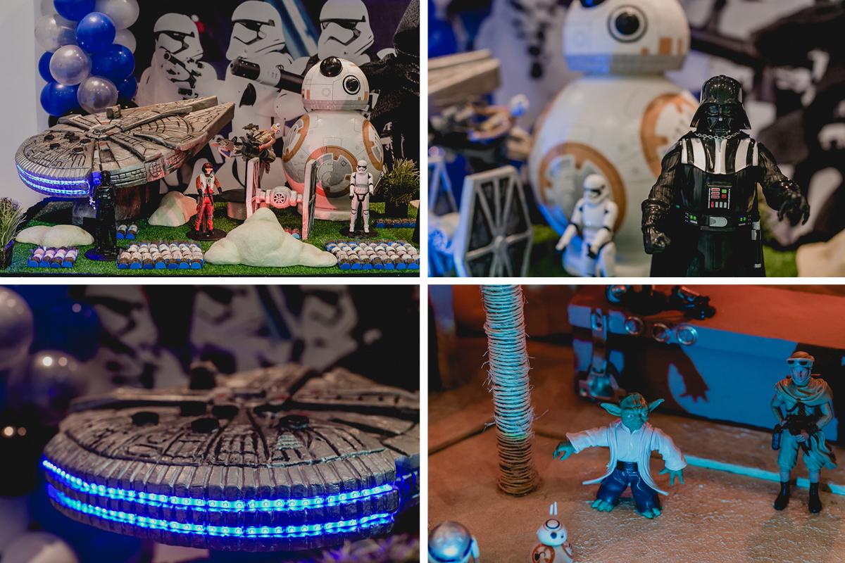 detalhes da mesa do bolo com o tema star wars