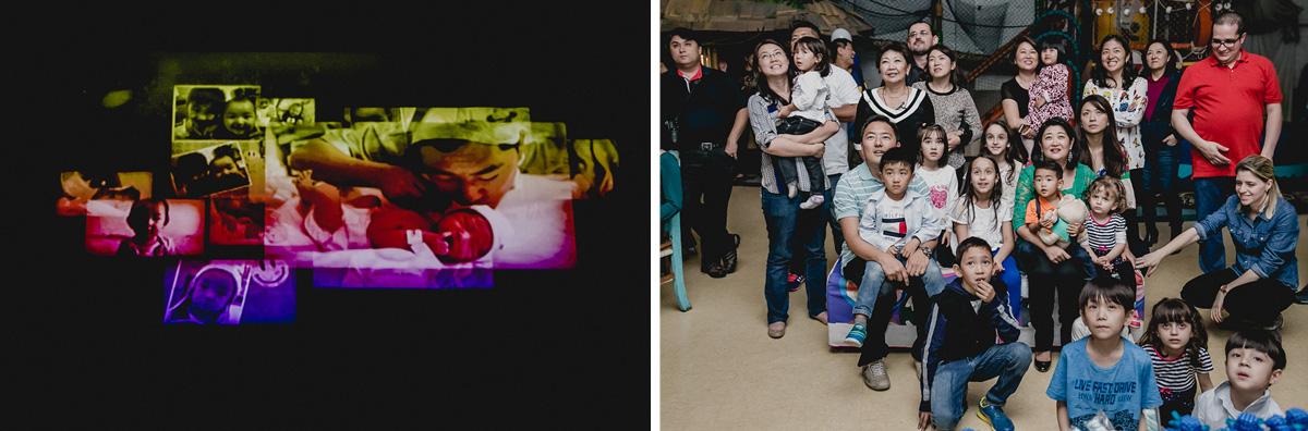 Família assistindo a retrospectiva