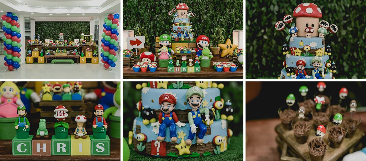 Detalhes da Mesa do bolo com o tema do Mario Bros