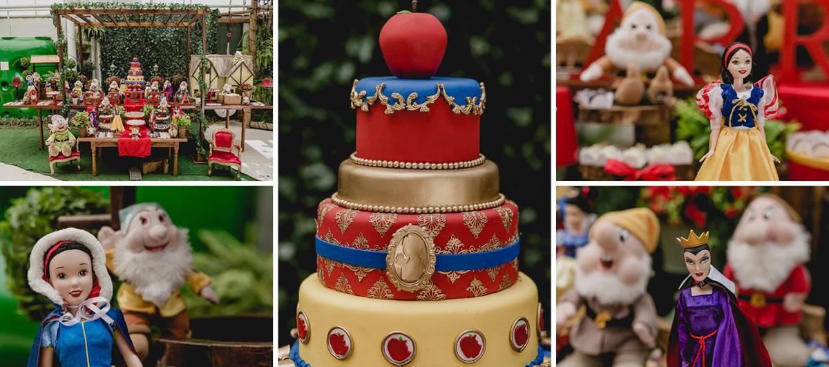 detalhes da mesa do bolo com o tema da branca de neve