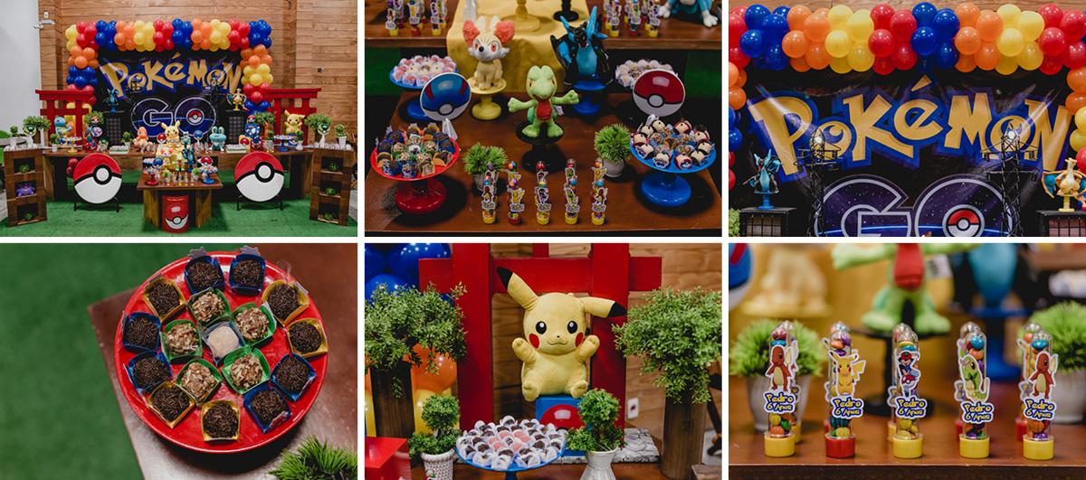 detalhes da mesa do bolo do pokemon