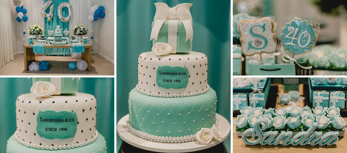 Detalhes da mesa do bolo do aniversario de 40 anos da Sandra