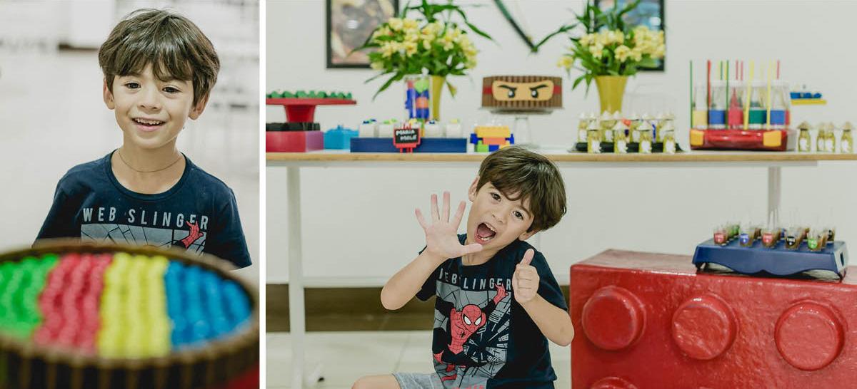 Theo chegando para a festa e fazendo algumas fotos na mesa do bolo