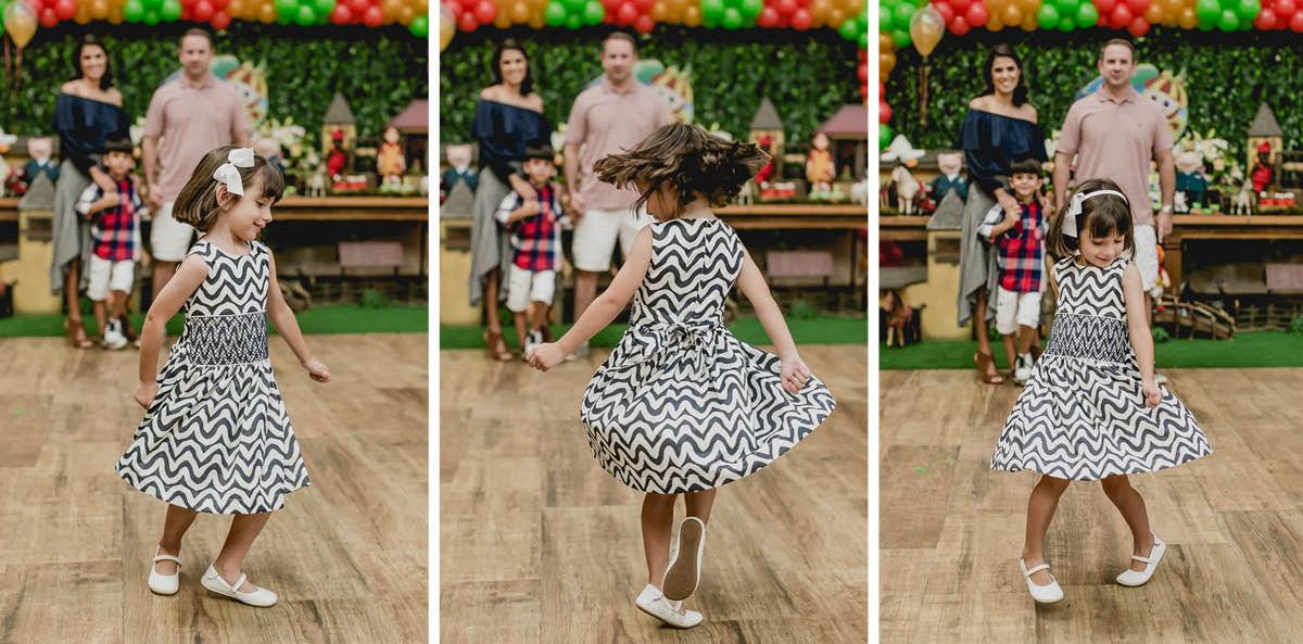 Beatriz dancando e balançando o seu vestido
