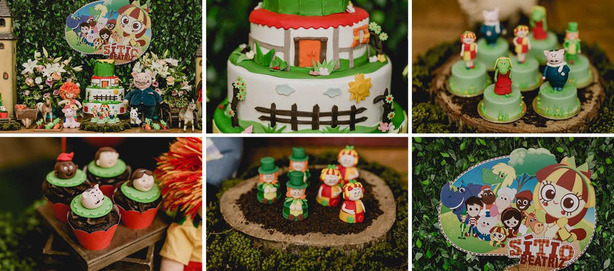 detalhes da mesa do bolo do aniversario de 4 anos da Beatriz, com o tema Sitio do Pica Pau amarelo