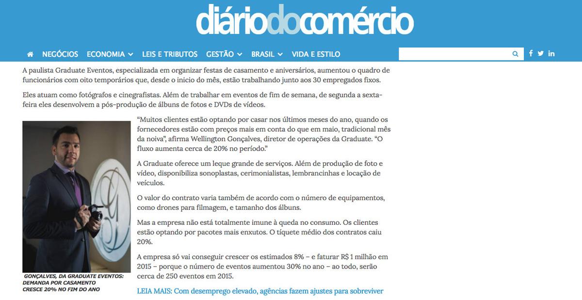 Imagem capa - Graduate Eventos no Diário do Comercio por Graduate Eventos