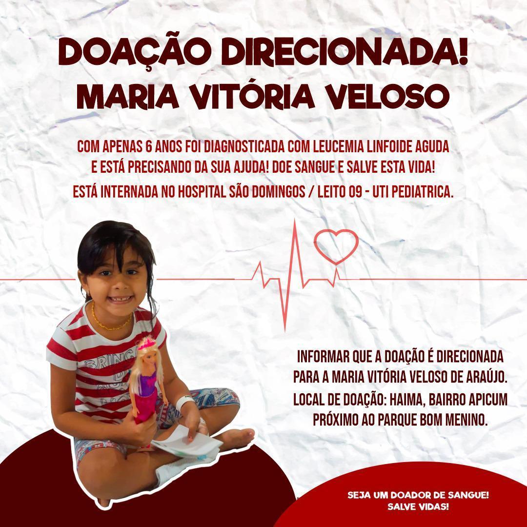 Imagem capa - URGENTE   DOAÇÃO DE SANGUE   MARIA VITORIA VELOSO   LEUCEMIA LINFOIDE AGUDA   por danielfotografia