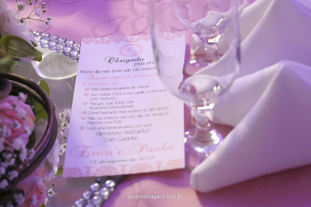 carta de agradecimento dos noivos para os convidados