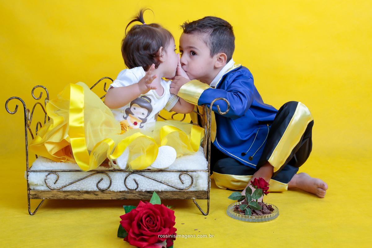 ensaio fotográfico temático infantil a bela e fera