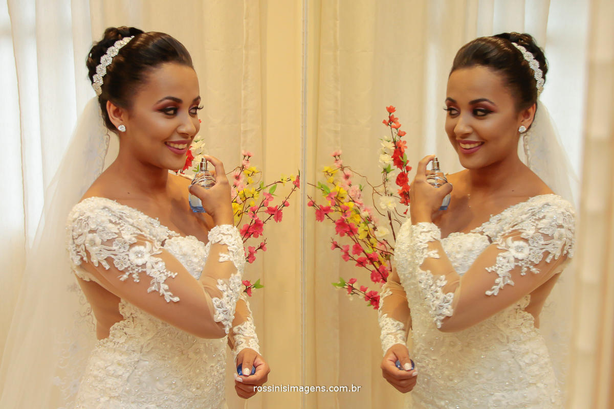 fotografia de noiva passando perfume foto por rossinis imagens