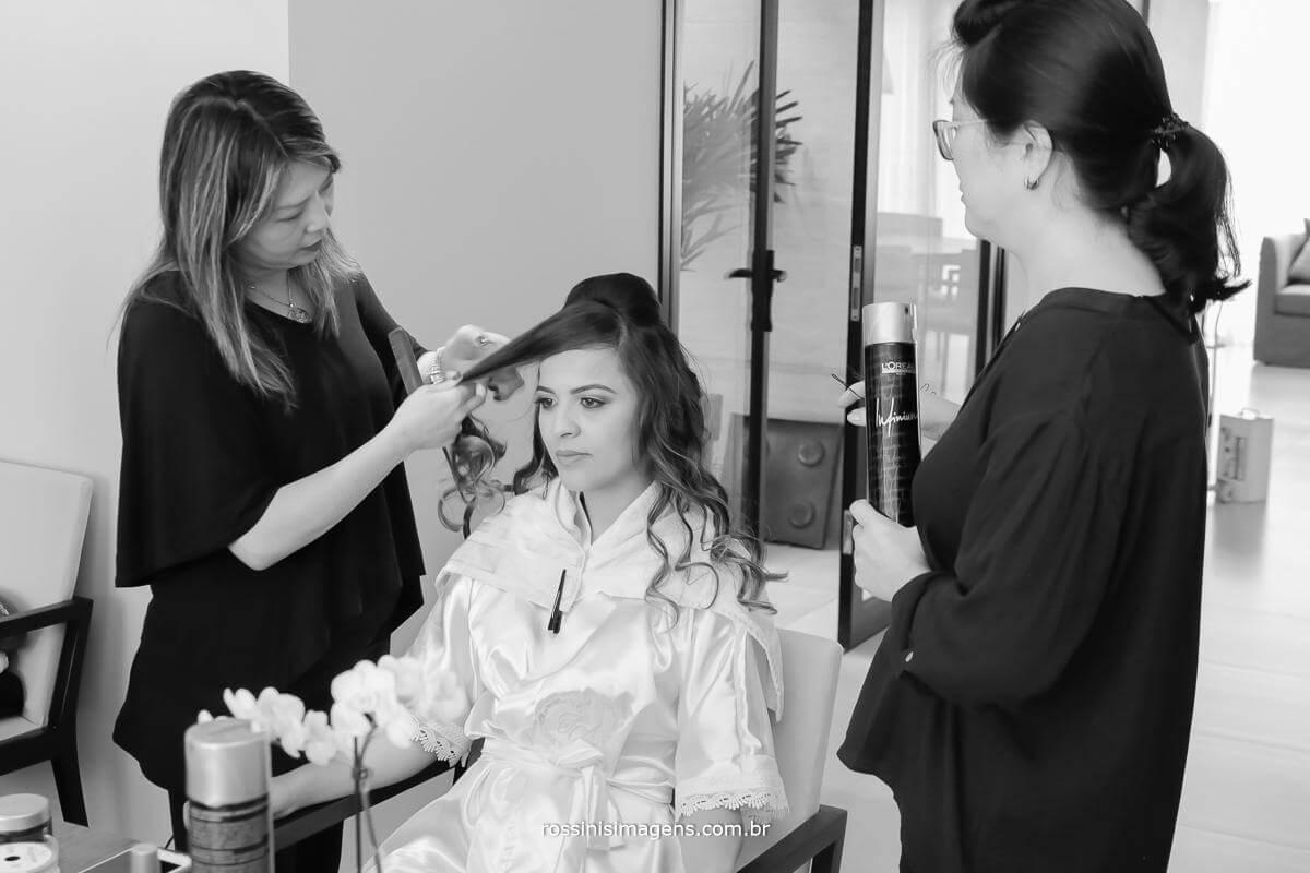 kayoko, montagem de penteado de noiva, dia da noiva, preparação do casamento. Rossinis Imagens - Fotografia e Video de Casamento