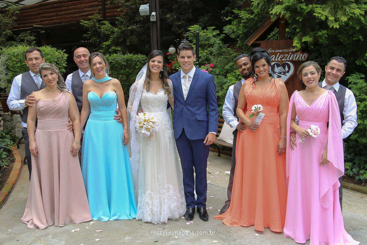 fotografia de casamento foto coletiva com os padrinhos e os noivos juntos, Fotografia de Casamento - rossinis Imagens, Filmagem de Casamento - Rossinis imagens