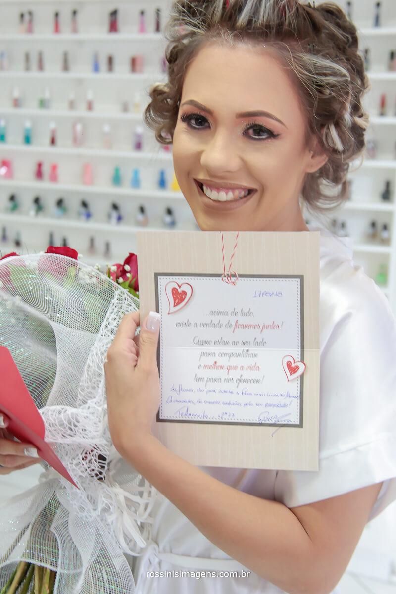 bilhete do noivo para a noiva , surpresa no making of da noiva