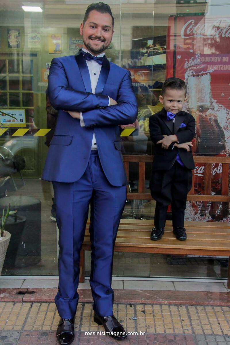 pai e filho na barbearia em suzano