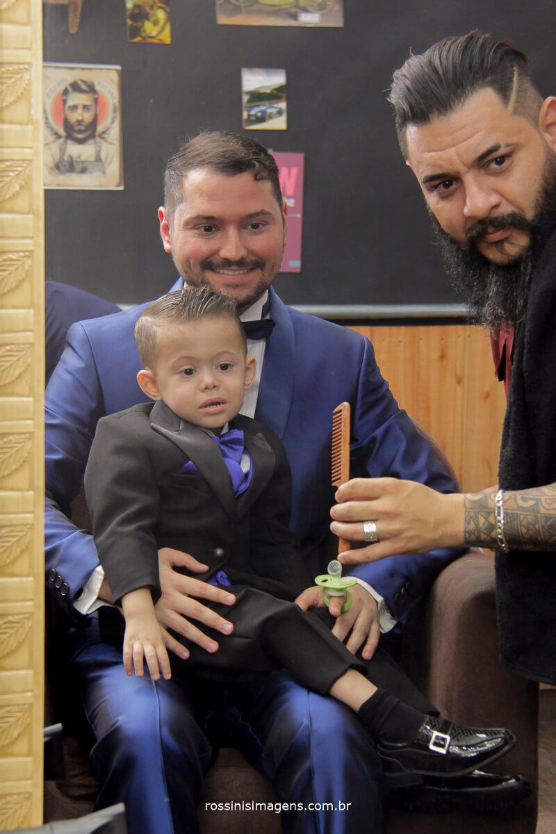 barbearia classe a, making of do noivo com o filho
