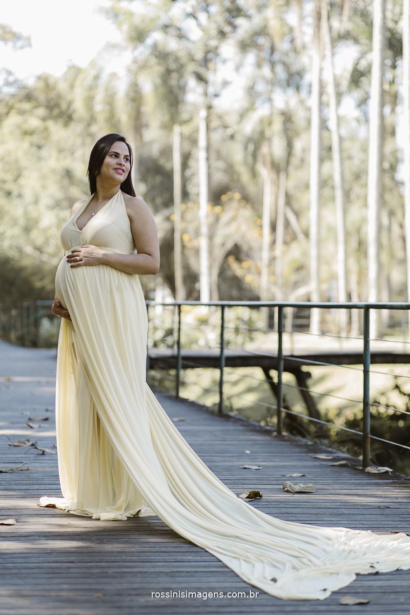 gestante vanessa na sessão fotografia no jardim botânico de são paulo com figurino de princesa, figurino amarelo, vestido longo, luxo, maternidade, retatos