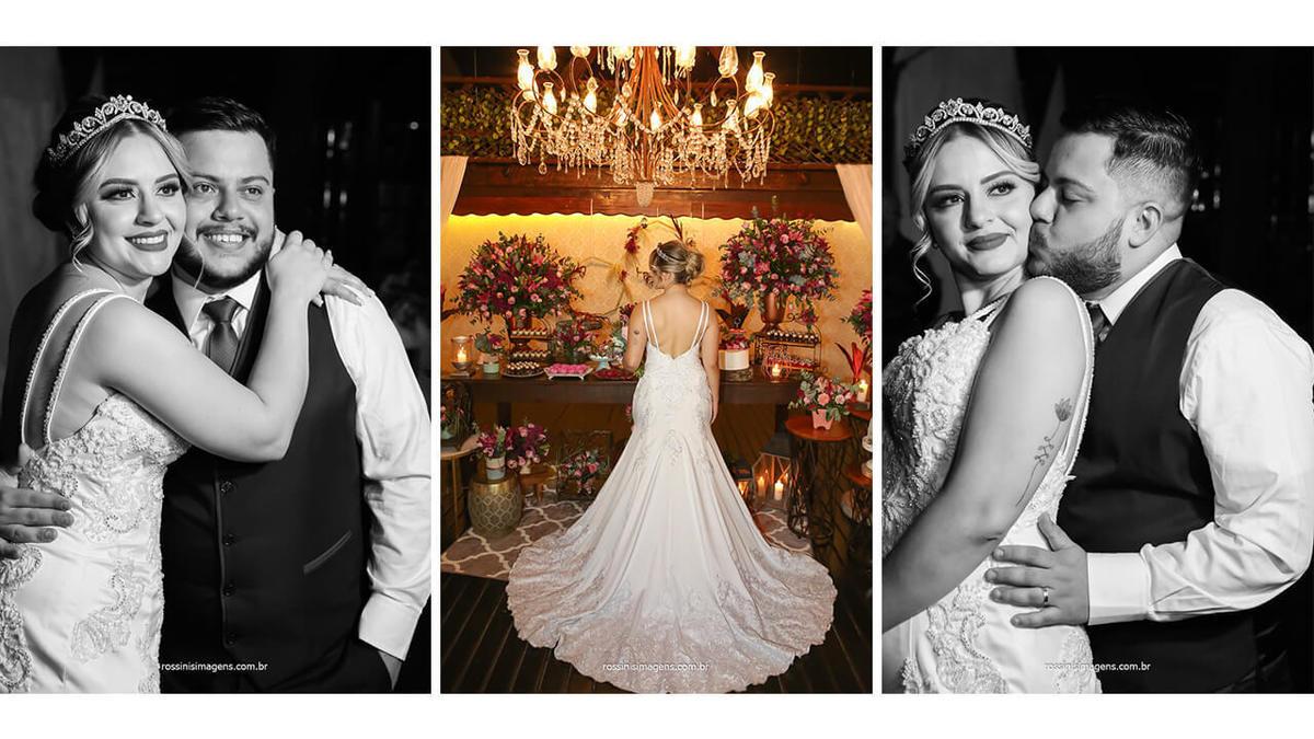 parte das costa do vestido da noiva da Silvia Daniele Atelier fotografia dos noivos na mesa do bolo, @RossinisImagens , totem fotográfico da ideal foto cabine