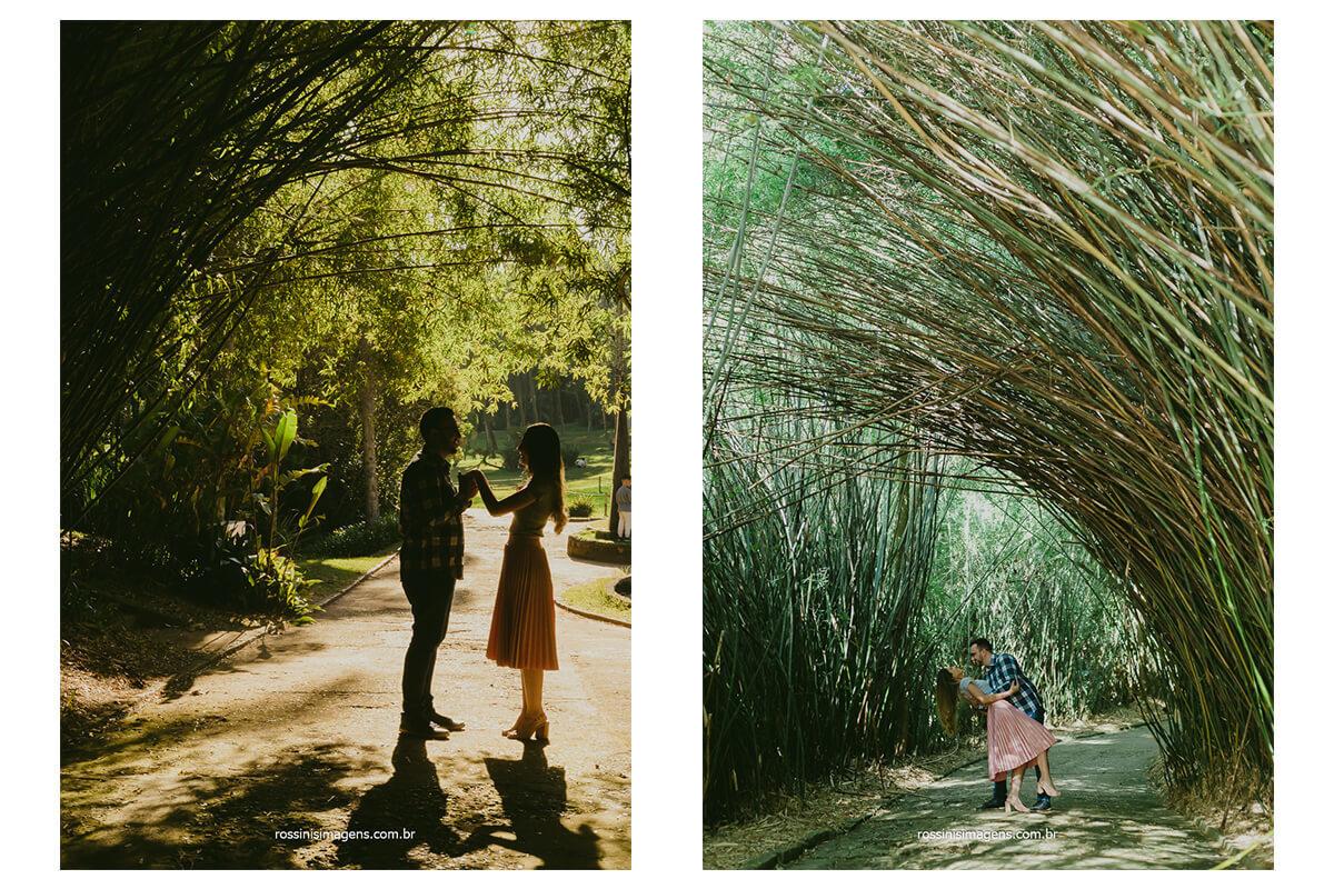 fotografia montada de casal no túnel de bambu do jardim botânico de são paulo, @RossinisImagens