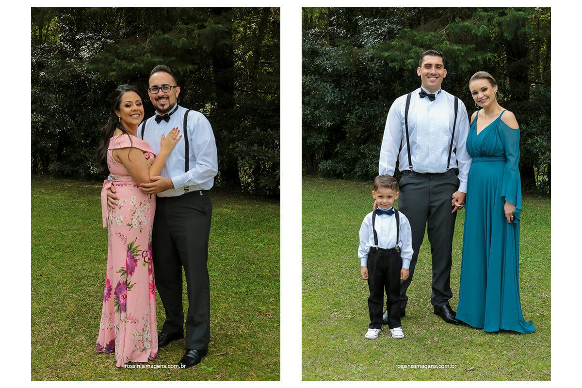 primeira fotografia irmão e cunhada do noivo mais novo e segunda foto irmão esposa e filho do irmão do noivo mais velho, fotografia de família, @RossinisImagens