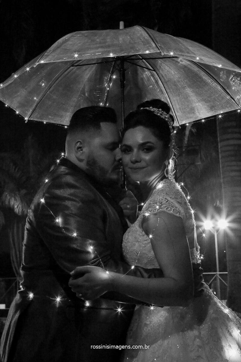 fotografia noturna no casamento da Erica e Rodrigo usando luzes e flash externo para uma fotografia especial, foto por Priscila Rossini em Chácara Torres