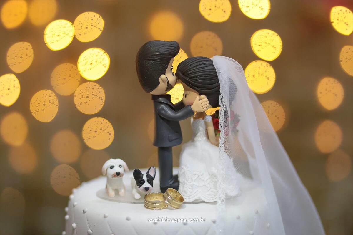 topo de bolo com pets Fotografia da aliança no topo de bolo com os pet's