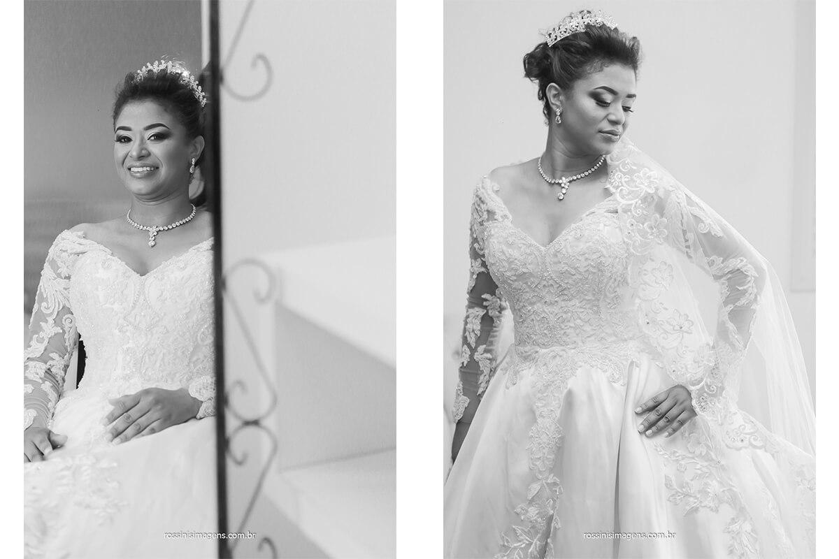 fotografias de casamento noiva com vestido branco em fotografia preto e branco, @RossinisImagens