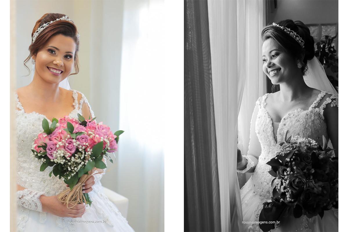 fotografia da noiva com o buquê entregue pelo assessor da SI assessoria, @RossinisImagens